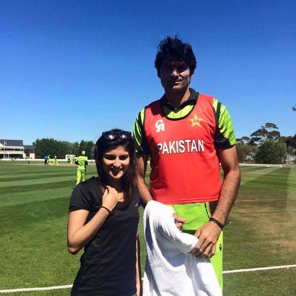 Mohammad Irfan With Fan in New Zealand