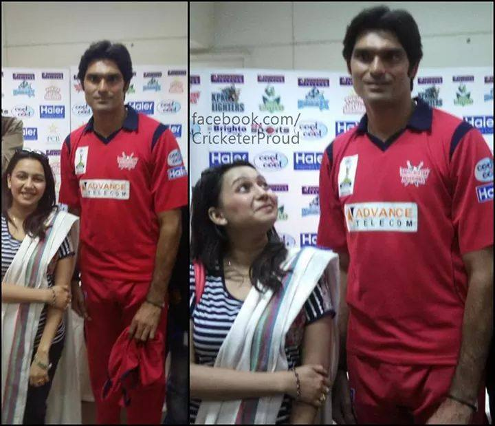 Mohammad Irfan With Sports Anchor Sawera Pasha