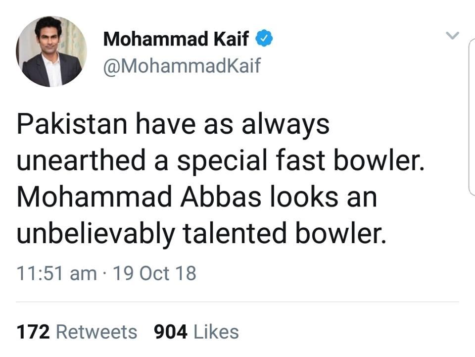 Mohammad Kaif Tweets On Mohammad Abbas