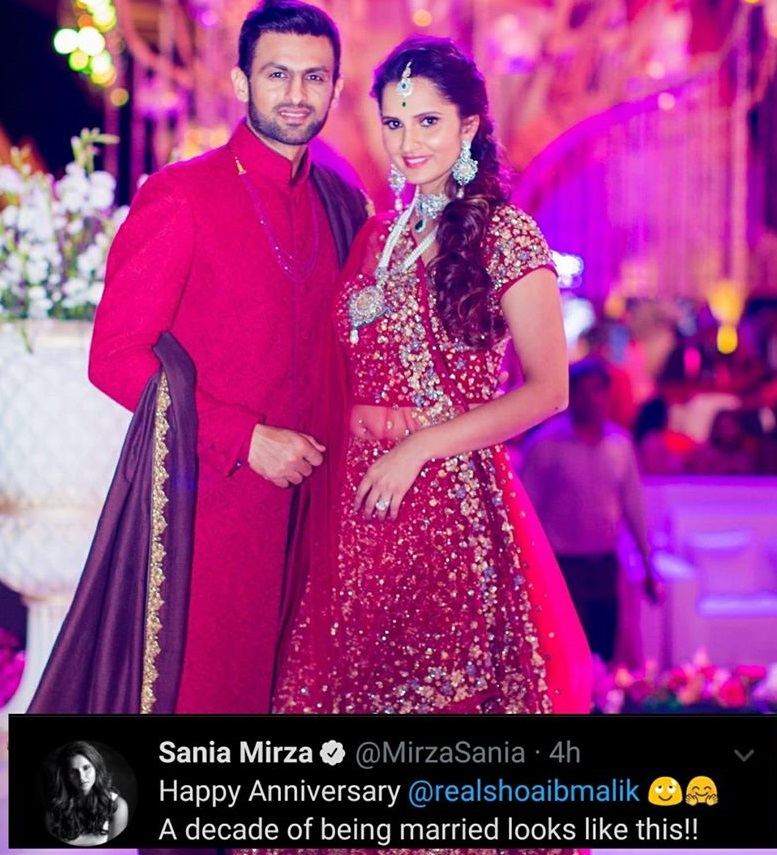 Mr And Mrs. Shoaib Malik Celebrating 10th Wedding Anniversary