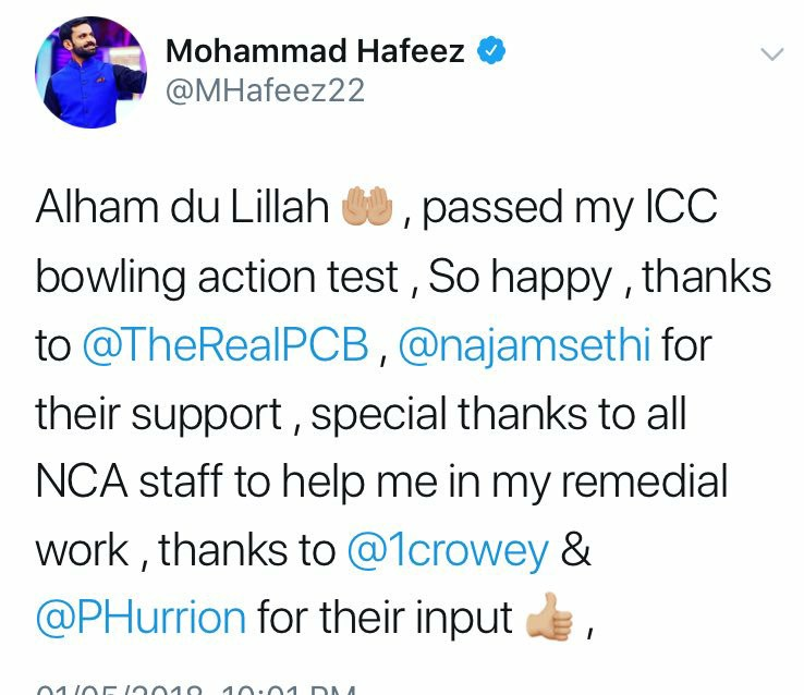 Muhammad Hafeez Has Been Cleared To Resume Bowling