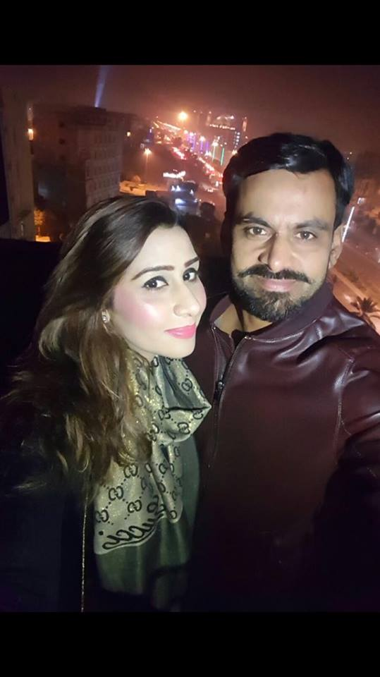 Muhammed Hafeez is enjoying new year night with his wife