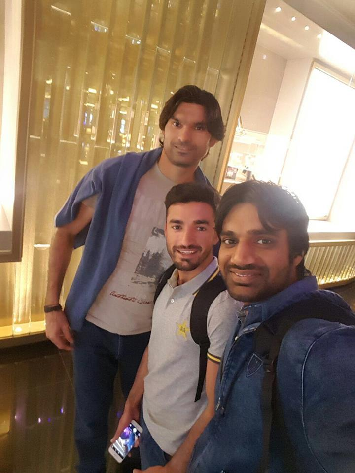 Muhammed Irfan, Zafar Gohar and Rahat Ali pictured while travelling to New Zealand