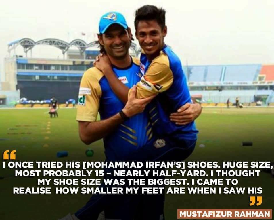 Mustafizur Rehman On Wearing Mohammad Irfan's Shoes