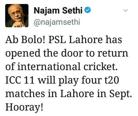 Najam Sethi Recent Tweet