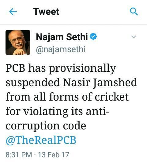 Najam Sethi Tweet About Nasir Jamshed