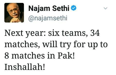 Najam Sethi Tweet About Next PSL