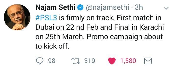 Najam Sethi Tweeted About PSL 3