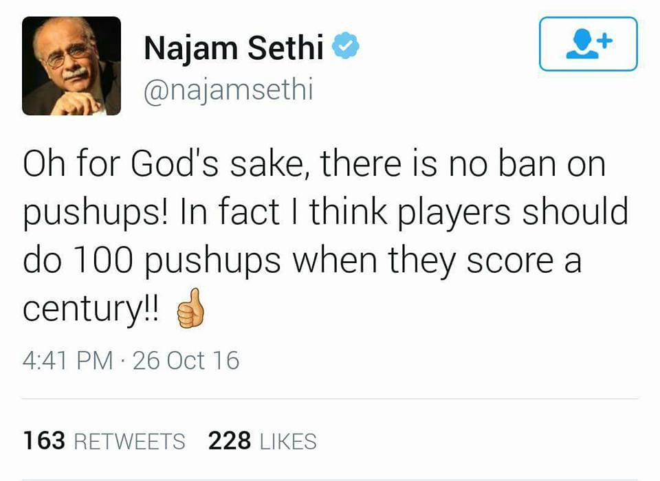 Najam Sethi's Tweet About Push Ups