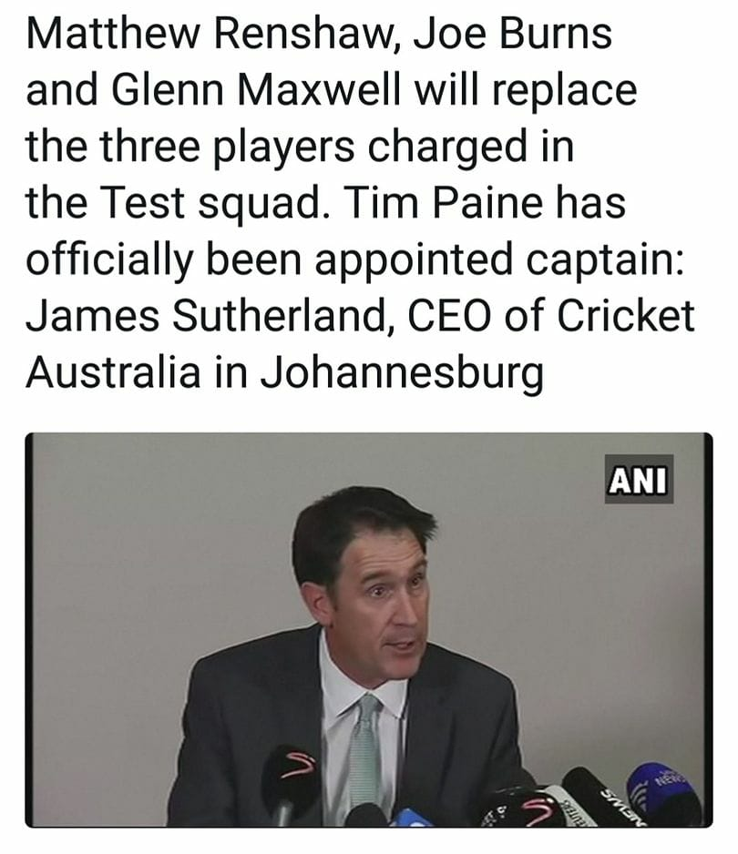New Development In Australia Test Squad After Ball Tempering Fiasco