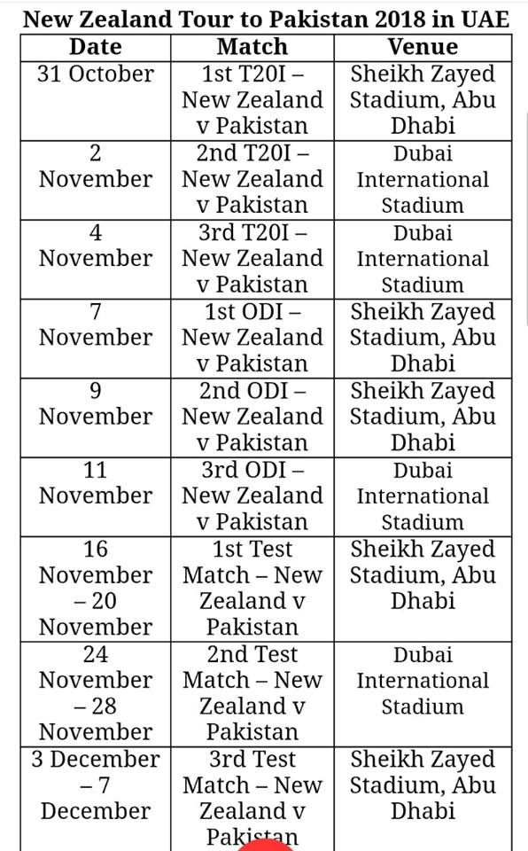 New Zealand Tour To Pakistan 2018 In UAE