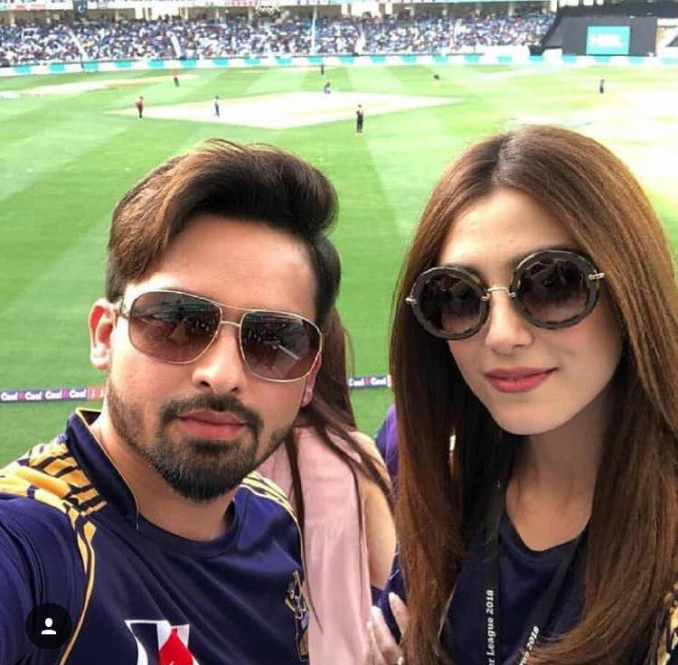 Noman Habib & Maya Ali Backing Quetta Gladiators In Their Earlier Match PSL