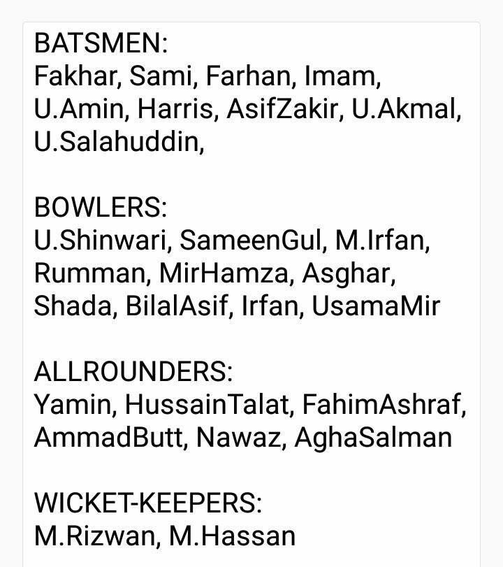 PCB 27 Short-Listed Players For NCA Camp