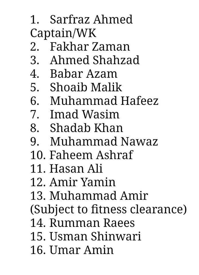 PCB Announces 16 Members T20 Squad For 3 Matches Against Sri Lanka
