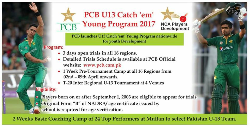 PCB Launches U13 Catch em Young Program