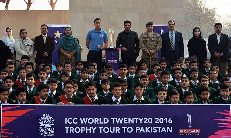 PCB unveils World T20 trophy at APS Peshawar