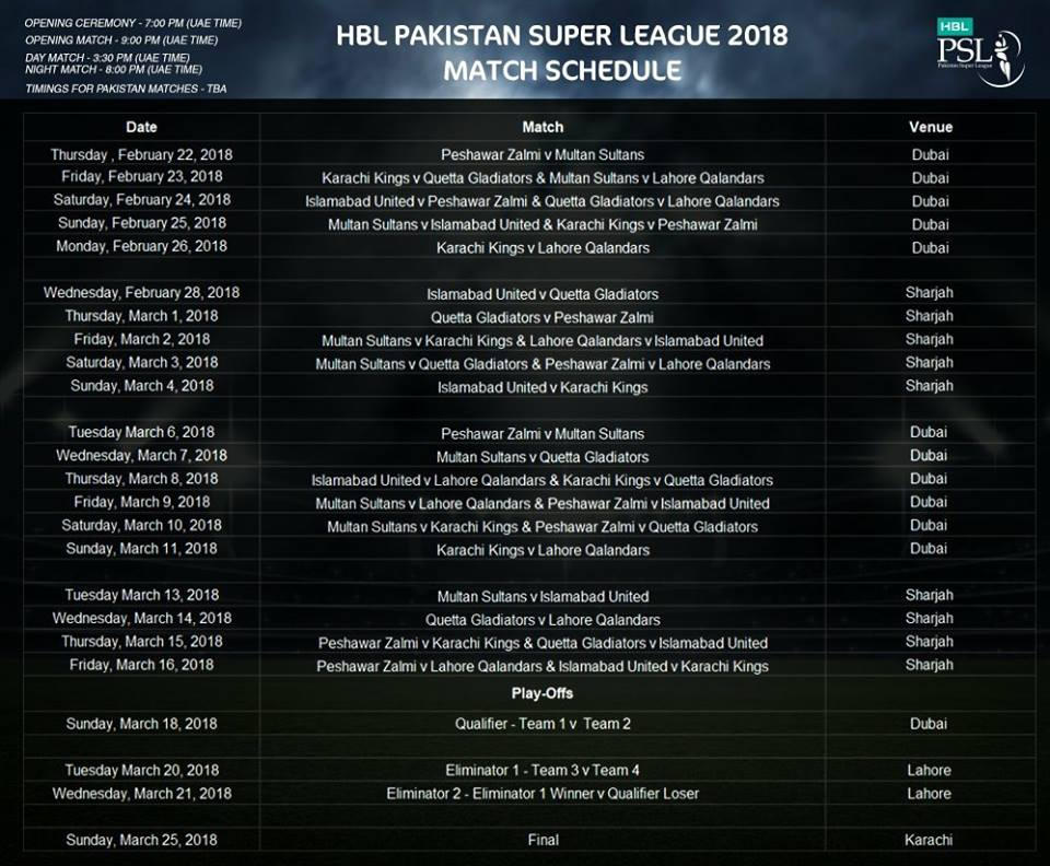 PSL 2018 Schedule Announced