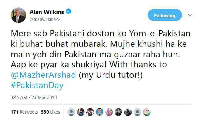 PSL Commentator Alan Wilkins Tweets On Pakistan Day