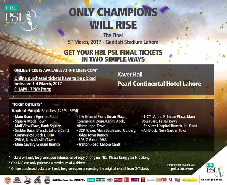 PSL Final Tickets Are On Sale Now