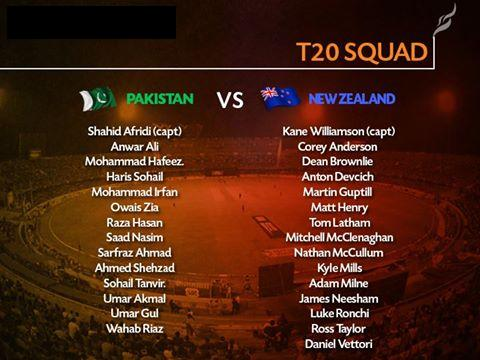 Pakistan And New Zealand T20 Squad
