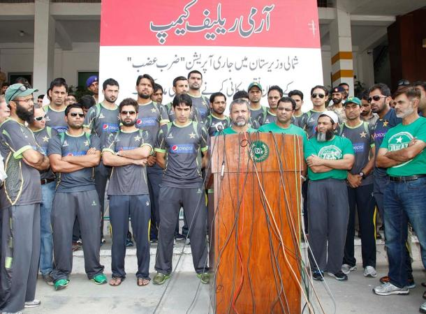 Pakistan Cricket Team visited the Army Relief Camp At Fortress Stadium