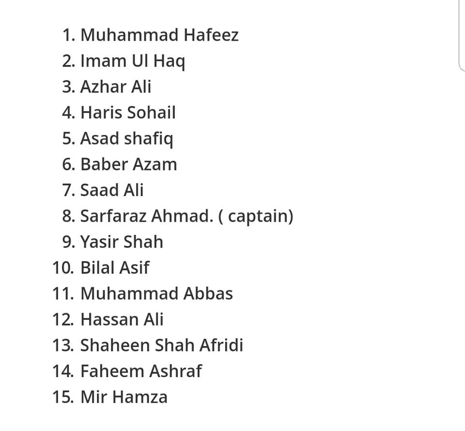 Pakistan Squad Announced For Test Series Against NZ
