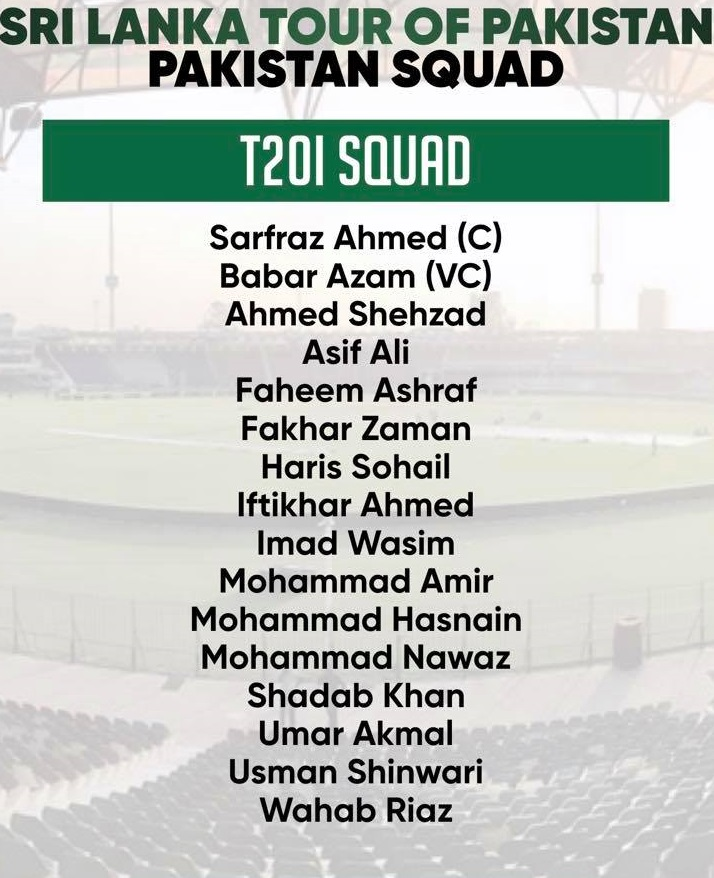 Pakistan T20I Squad For 3 Matches Series Against Sri Lanka