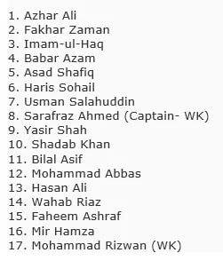 Pakistan Test Squad For 2 Test Matches Series Against Australia
