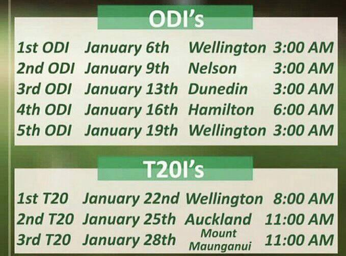 Pakistan Tour Of New Zealand Schedule