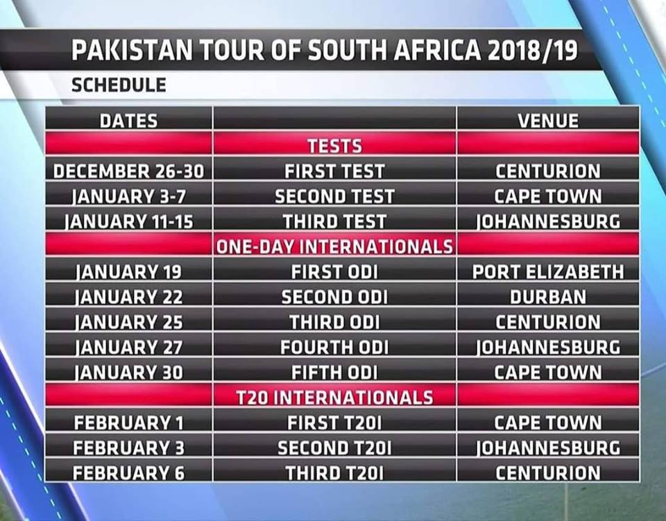 Pakistan Tour Of South Africa Schedule