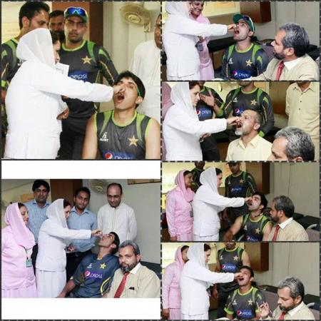 Pakistani Cricketers Taking Anti Polio Vaccine At Airport