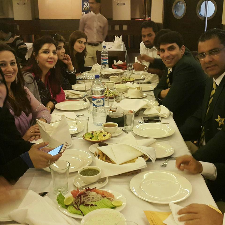 Pakistani Cricketers With Family Having Dinner