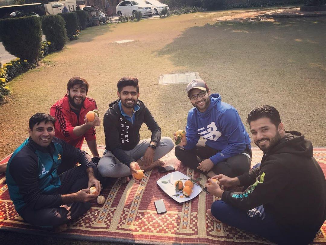 Pakistani Players Enjoying Oranges In Lahore