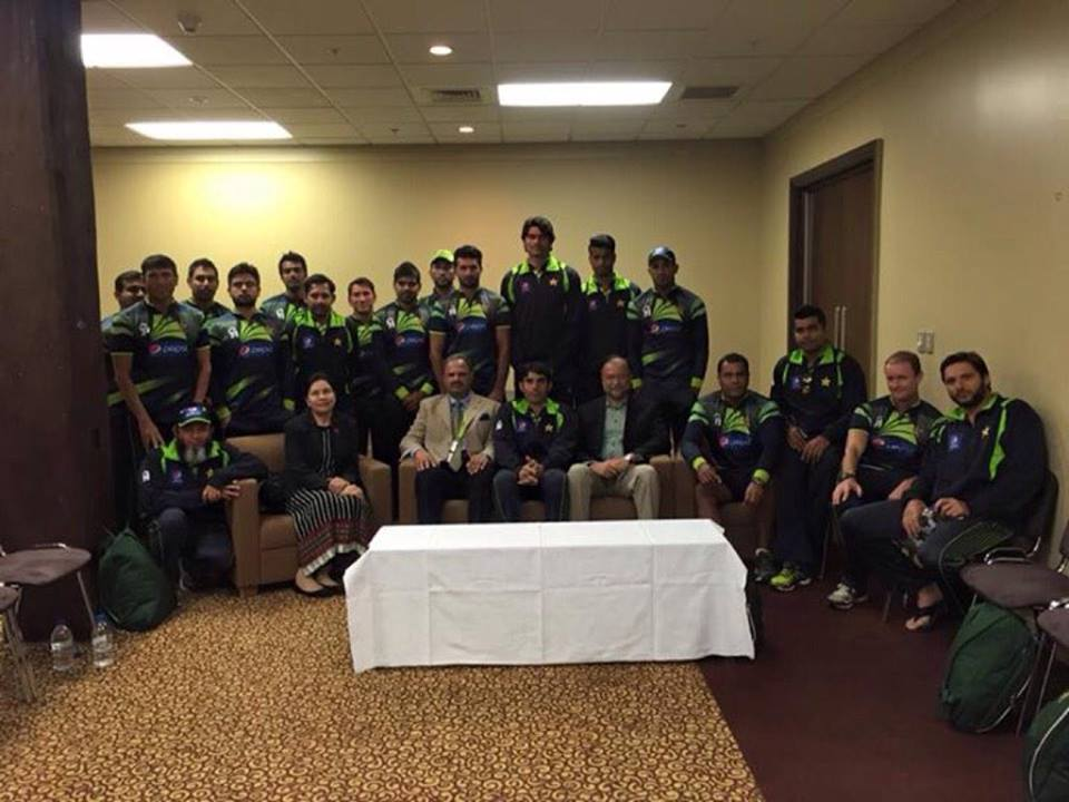 Pakistani Team Group Photo With Manager Naveed Akram Cheema And Federal Minister Ahsan Iqbal