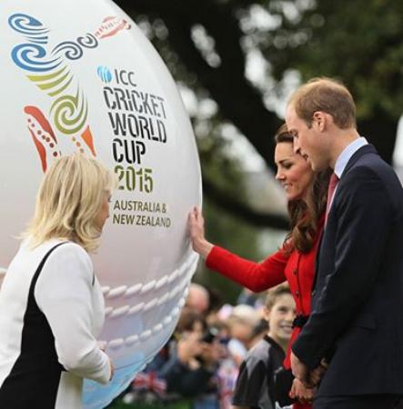 Prince William And Kate Middleton Admire A Replica Cricket Ball In Chris