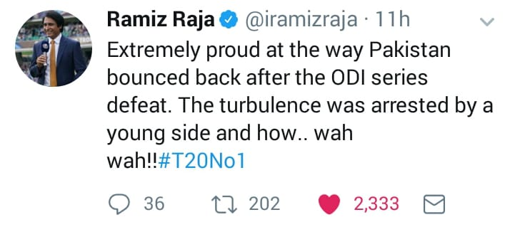 Rameez Raja Tweeted About Pak Victory In T20 Series In NZ