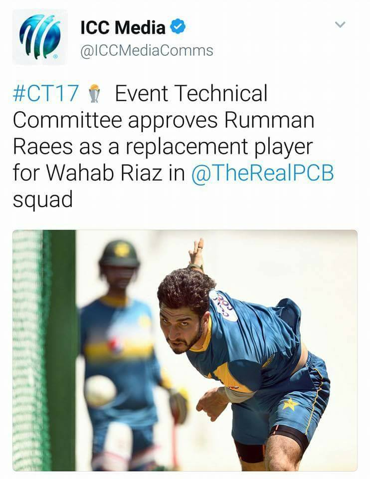 Rumaan Raees As A Replacement Player Of Wahab Riaz