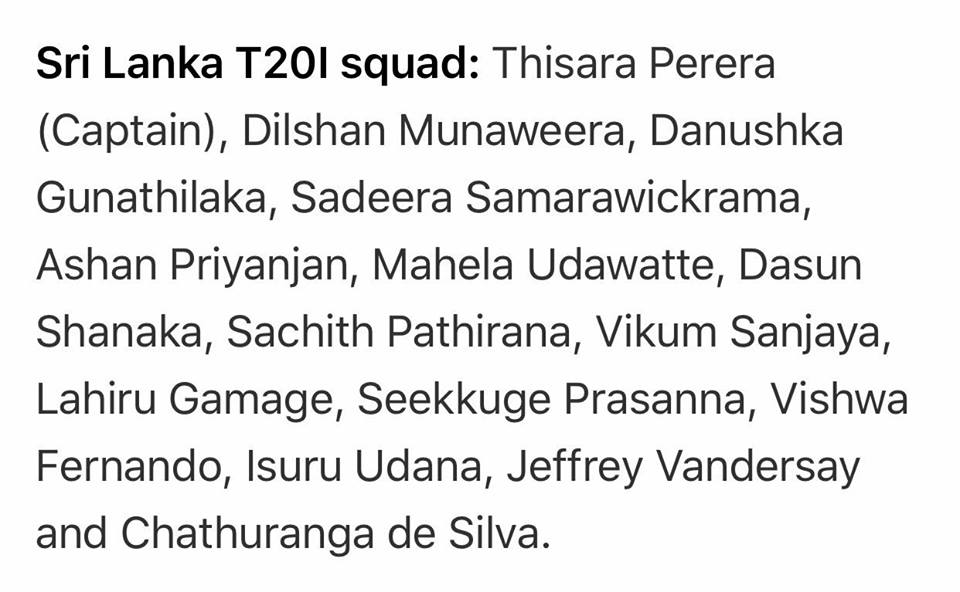 SL T20 Squad Announced For 3 T20Is Matches vs Pakistan