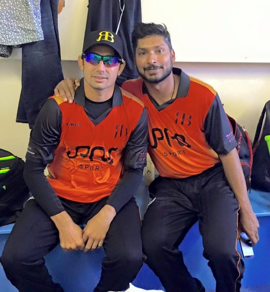 Saeed Ajmal And Kumar Sangakkara Pic Before Essex County Cricket Club Match