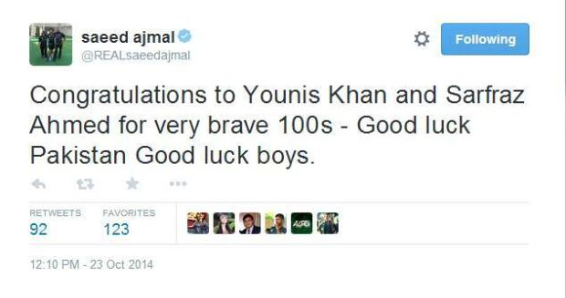 Saeed Ajmal Congrats To Younis Khan And Sarfraz Ahmed