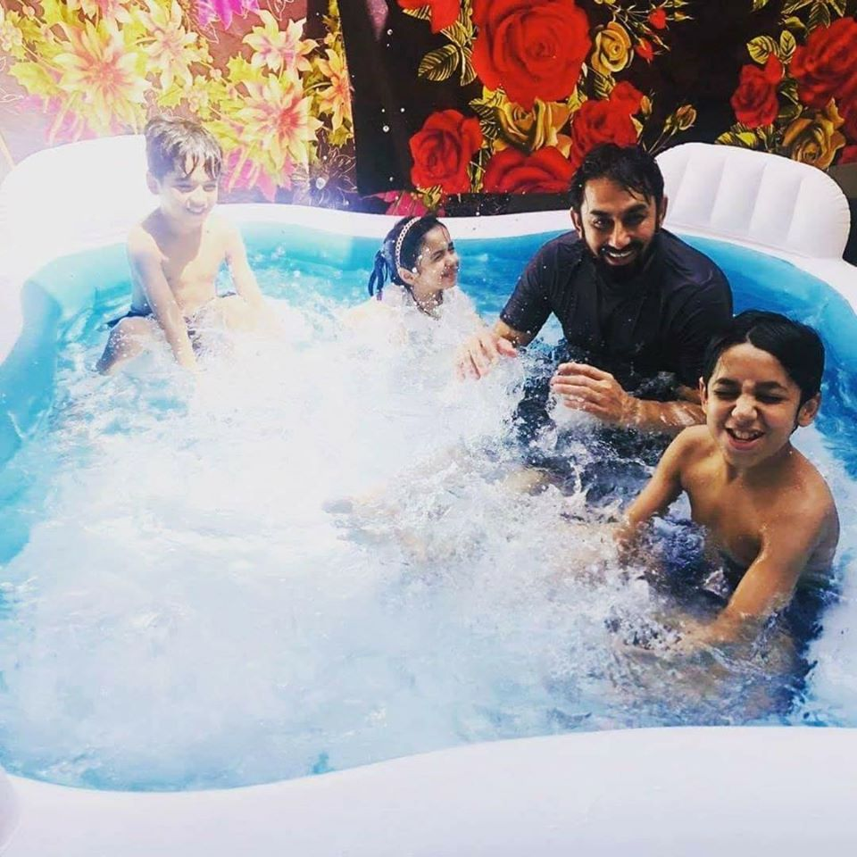 Saeed Ajmal Enjoying Swimming With His Children