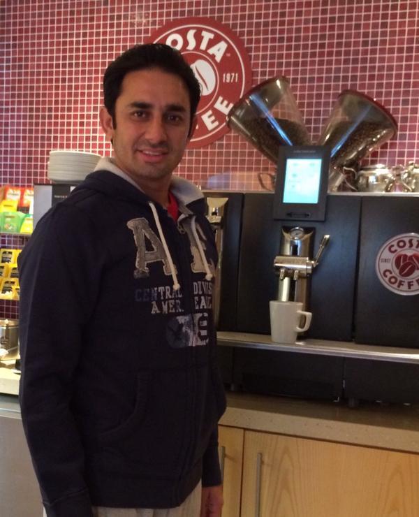 Saeed Ajmal In London Having Coffee