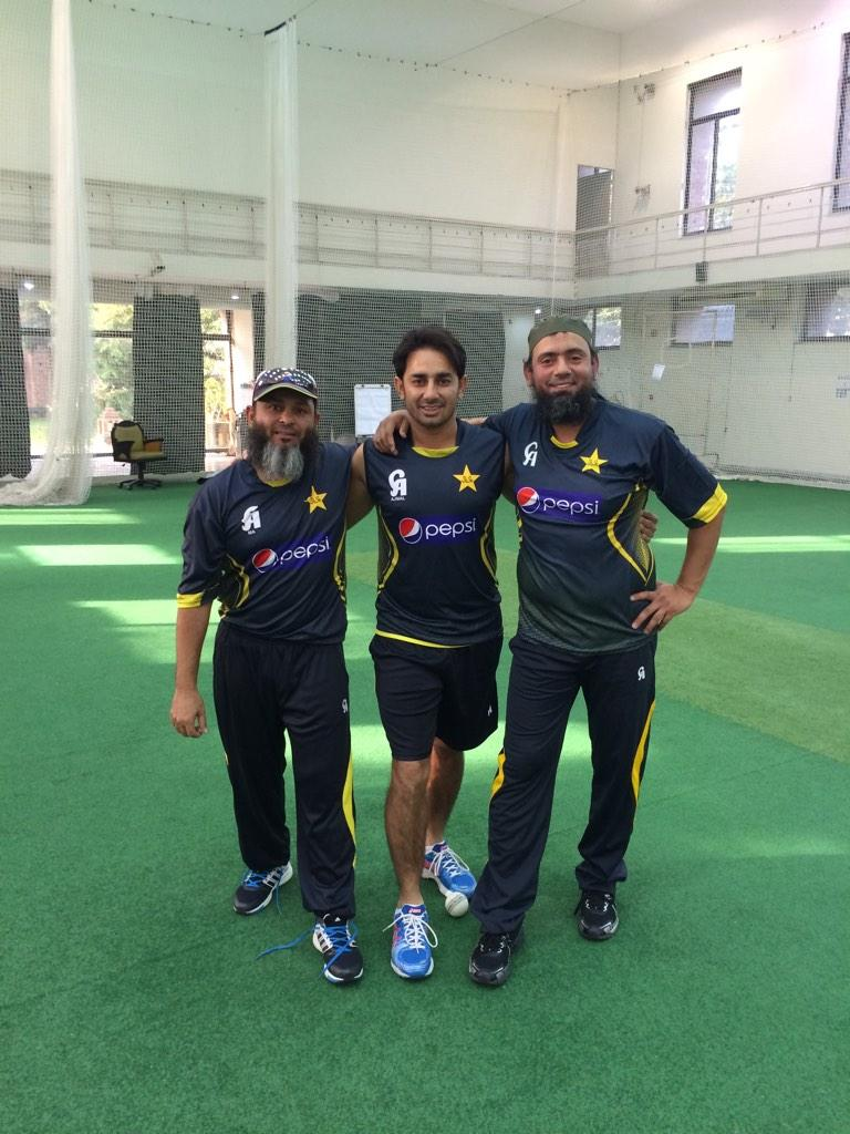 Saeed Ajmal With Saqlain Mushtaq And Mushtaq Ahmed