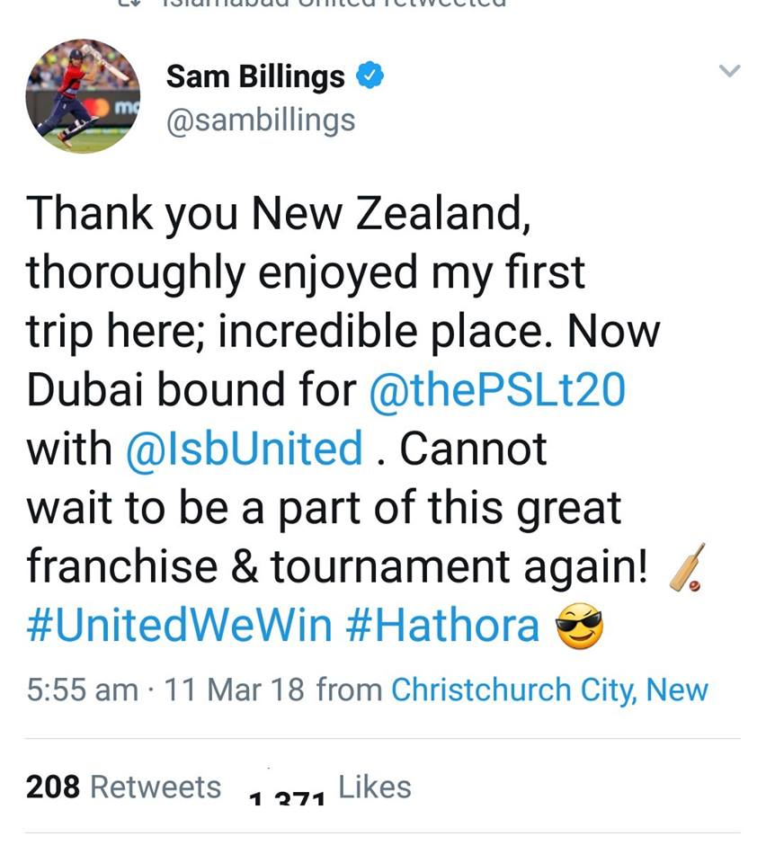 Sam Billings Will Be Joining Islamabad United