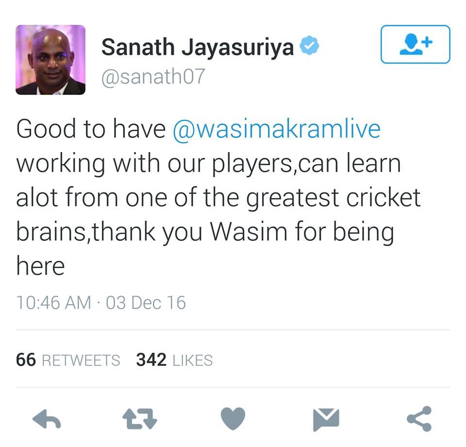 Sanath Jayasuriya Tweet
