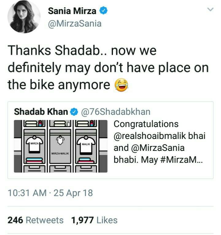 Sania Mirza Say Thanks To Shadab On Tweet