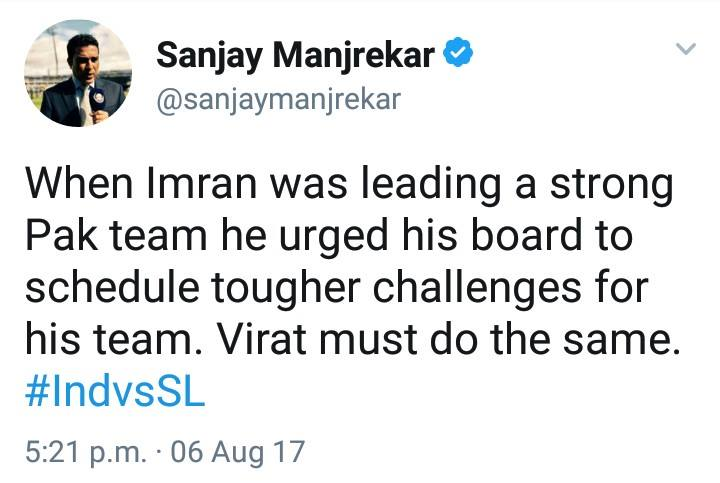 Sanjay Menjrekar Tweet