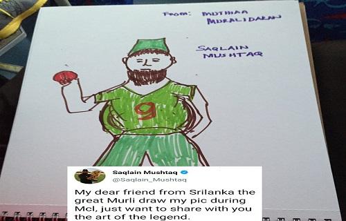 Saqlain Mushtaq Loved The Drawing By Muttiah Muralidaran