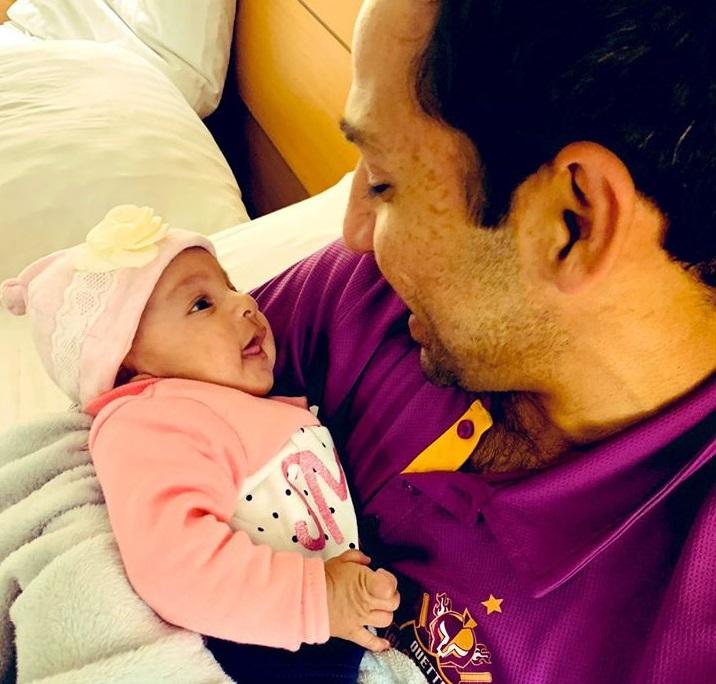 Sarfaraz Ahmad With His Newly Born Daughter