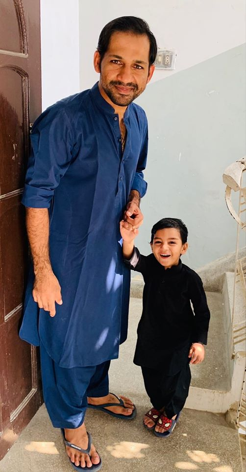 Sarfaraz Ahmed And His Son Pictured After Jumma Prayer
